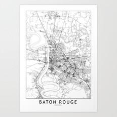 Baton Rouge Map Art Print