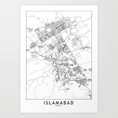 Islamabad Map Art Print