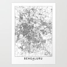 Bengaluru Map Art Print