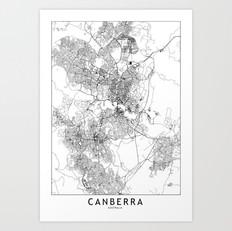 Canberra Map Art Print