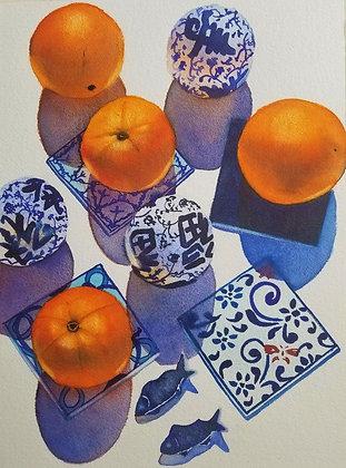 "Sarah Bent - ""Small Plate With Oranges"" - Original"