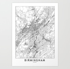 Birmingham Map Art Print