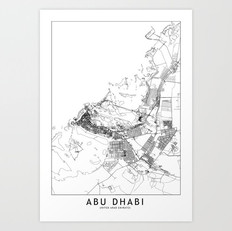 Abu Dhabi Map Art Print