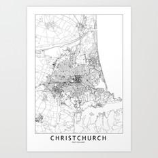 Christchurch Map Art Print