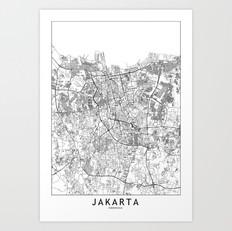Jakarta Map Art Print
