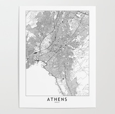 Athens Map Poster