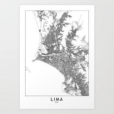 Lima Map Art Print