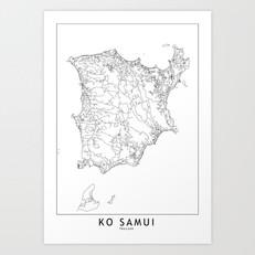 Ko Samui Map Art Print
