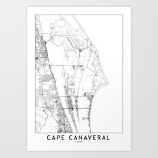 Cape Canaveral Map Art Print