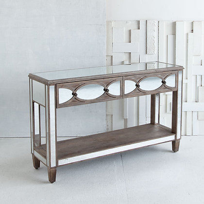 Tortise 53L x 16W Brown Mirrored Two Drawer Console Table