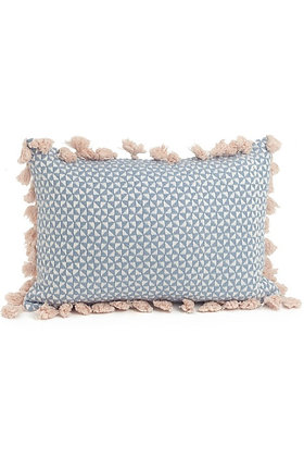 Woven Blue and Pink Throw Pillow