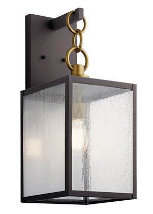 """Lahden™ 21.75"""" 1 Light Outdoor Wall Light with Clear Seeded Glass Weathered Zinc"""