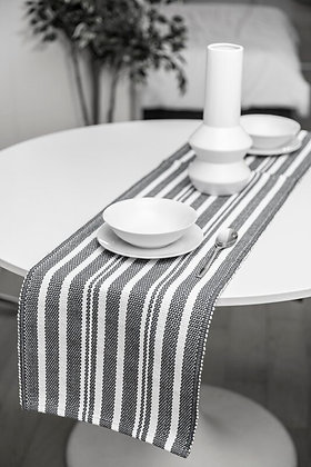 Charcoal Striped Table Runner