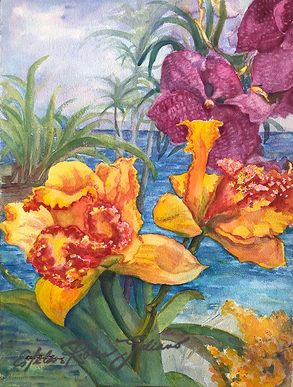 """Yellow & Violet Orchids"" Original"