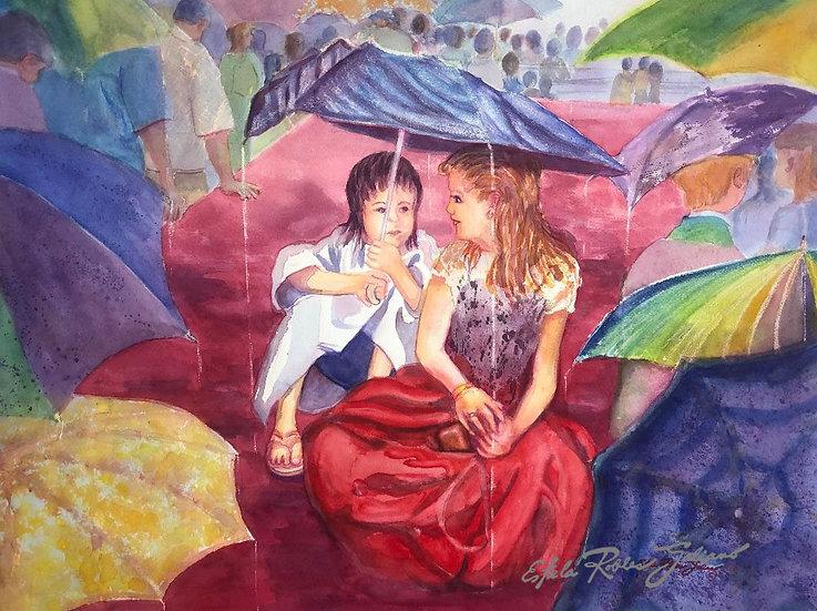 """""""Friends in the Rain / Amigas bajo la lluvia"""" Original"""