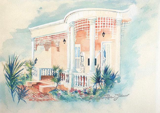 """Music Museum, Ponce-1992-Courtyard""  Original"