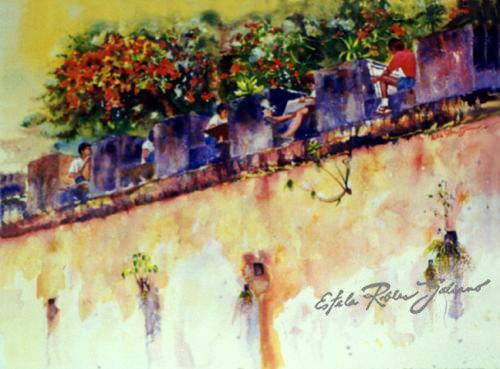 """""""Painting Students at San Juan Puerto Rico"""" Original"""