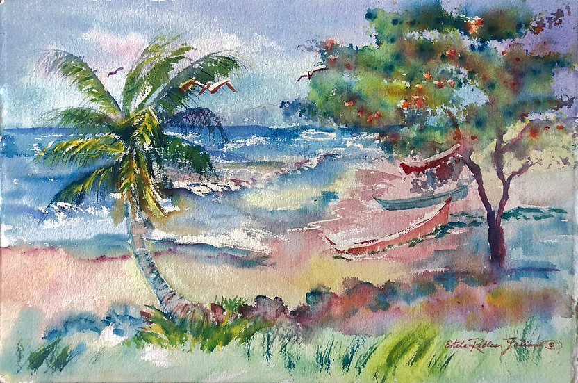 """Windy Day at the Beach""  Original"