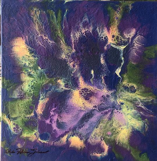 """""""Unique Green and Violets"""" Original"""