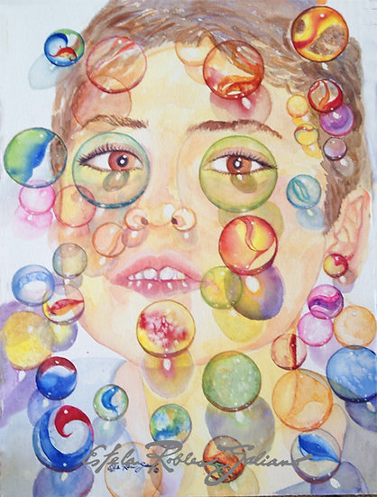"""""""Playing with Marbles"""" Original"""
