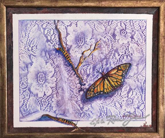"""Monarchs and Caterpillars"" Original"