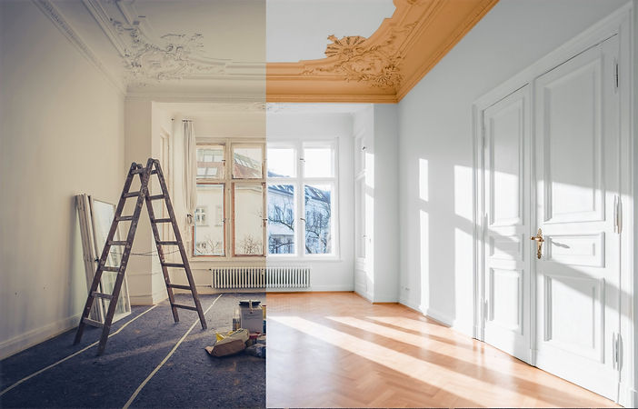 Before and after renovation of room.