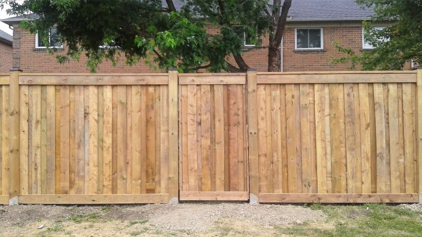 Installed fence with gate.