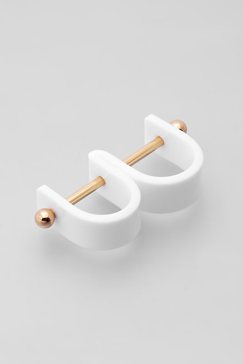ALPHA DOUBLE RING - GOLD / WHITE