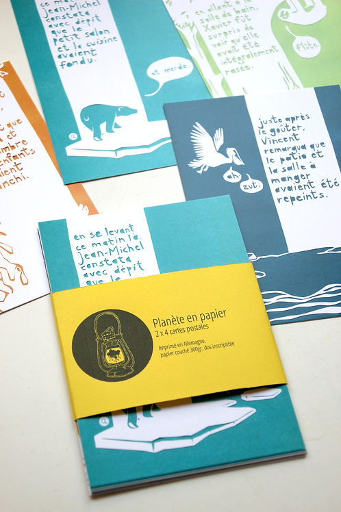 Planète en papier - Lot de 2x4 cartes postales