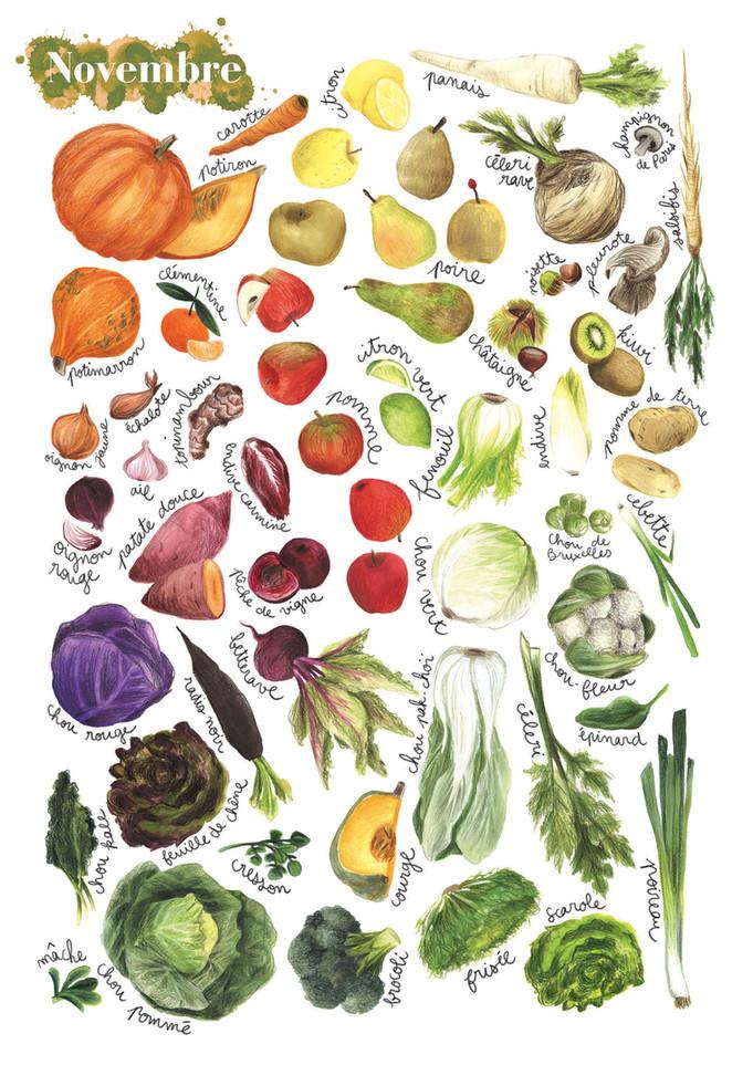 Fruits et légumes de saison, Novembre