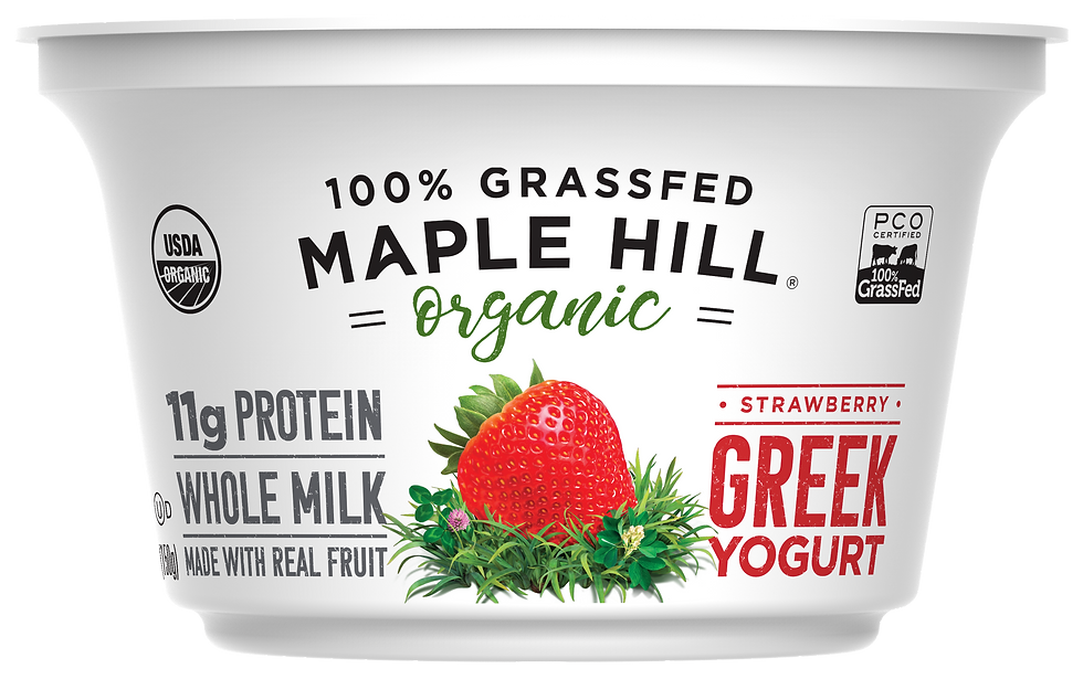 Maple Hill Creamery 100% Grass Fed Organic Strawberry Whole Milk Greek Yogurt