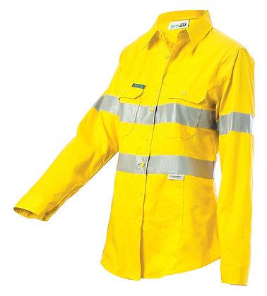 Hi-Vis Lightweight Gusset Cuff Drill Shirt With 3M