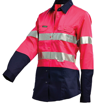 Pink Cotton Drill Shirt With 3M™ Reflective tape