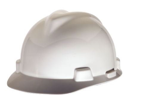 MSA V-GARD 500 Vented Hard Hat With 6 Point FAS-TRAC III Suspension White