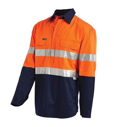 Hi-Vis 2-Tone Half Closed Drill Shirt With 3M™ Ref