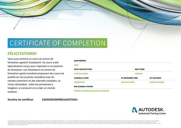 Certificat d'achèvement BIM formation