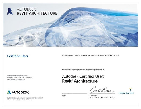 Certificat User Autodesk examen BIM formation