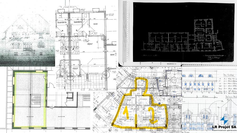 Les plans morcelés, sur le fond noir, sans échelle et tordus, à peine lisibles, croquis à la main, plans de base, architecte, plans mise à l'enquête