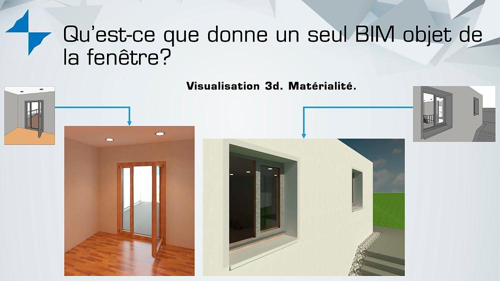 Options de visualisation de BIM objets de fenêtres, avec ou sans matérialité