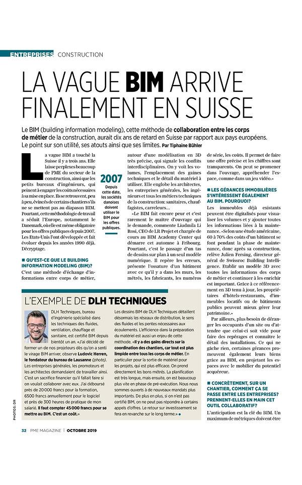 PME Magazine La vague BIM arrive finalement en Suisse