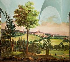 Ansicht von Muri und Umgebung als Secco-Malerei im sogen. Schweizerzimmer;