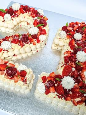 Summer Pavlova Number Cake