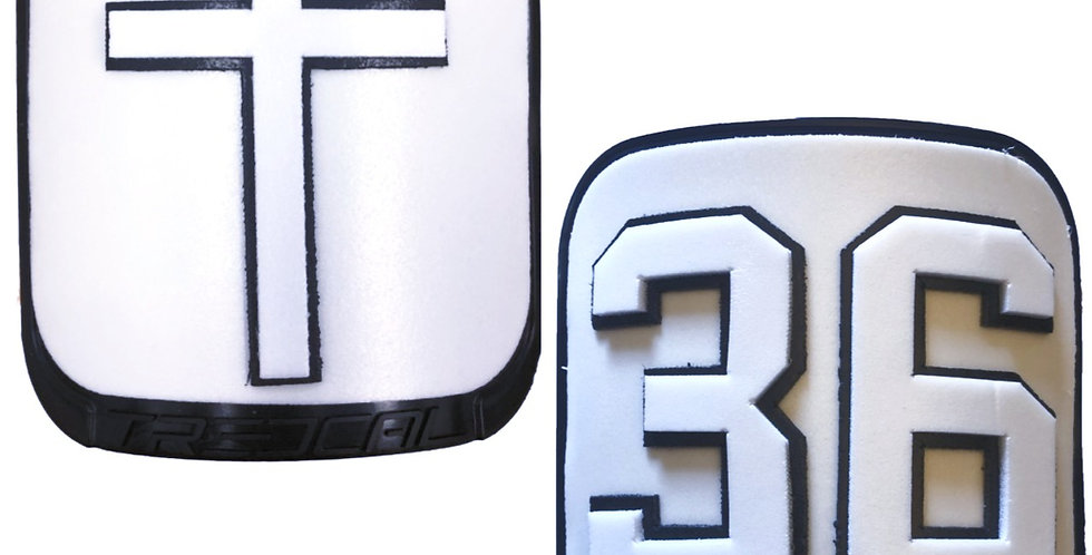 Cross and Number/Initials on Thigh Plates