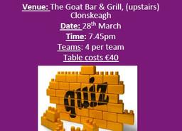 Table Quiz 28th March