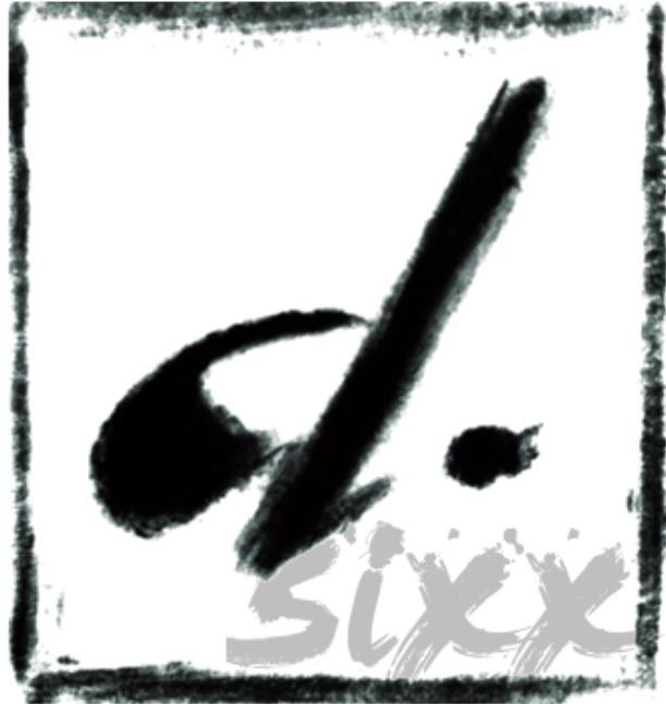 White square with black paint stroke frame, with a black paint stroke lower case d in the middle and full stop, and grey paint stroke word Sixx in the bottom right corner.
