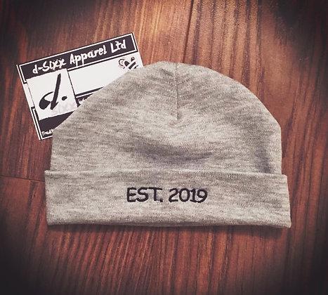 EST. 2019 Grey Beanie Baby Hat