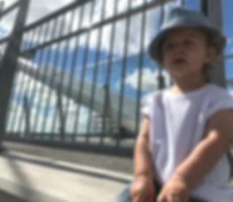 d-Sixx Apparel, toddler in hat, bridge
