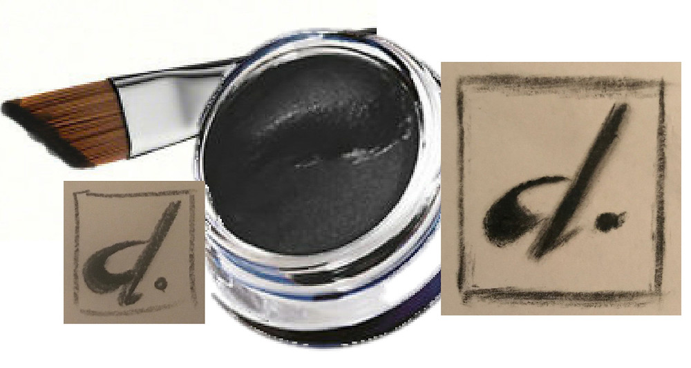 Black gel eyeliner glass pot with lid off, with a slanted eyeliner brush and 2 original sketched designs for d-Sixx Apparel Ltd. The 2 designs are both black paint brush squares with a lower case letter d and full stop.