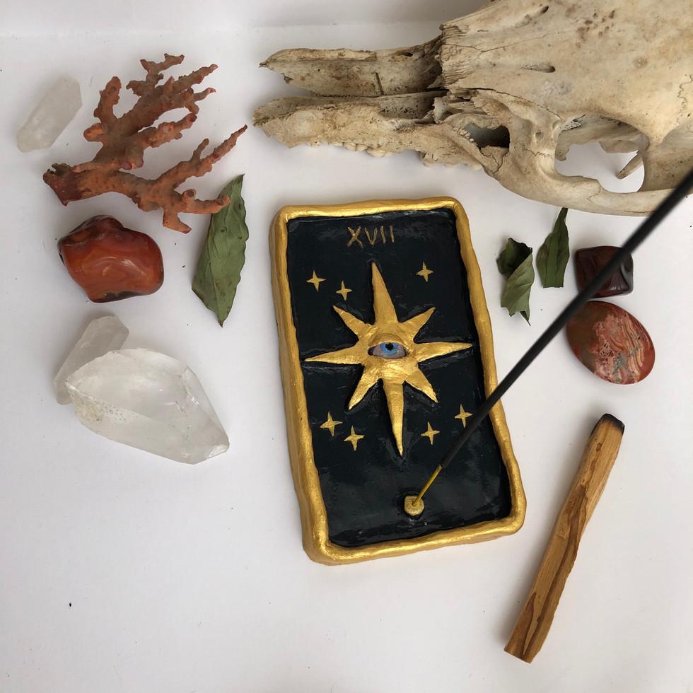 porte encens carte tarot étoile fait main Alexie kajpust créations argile lost art child alxik.art