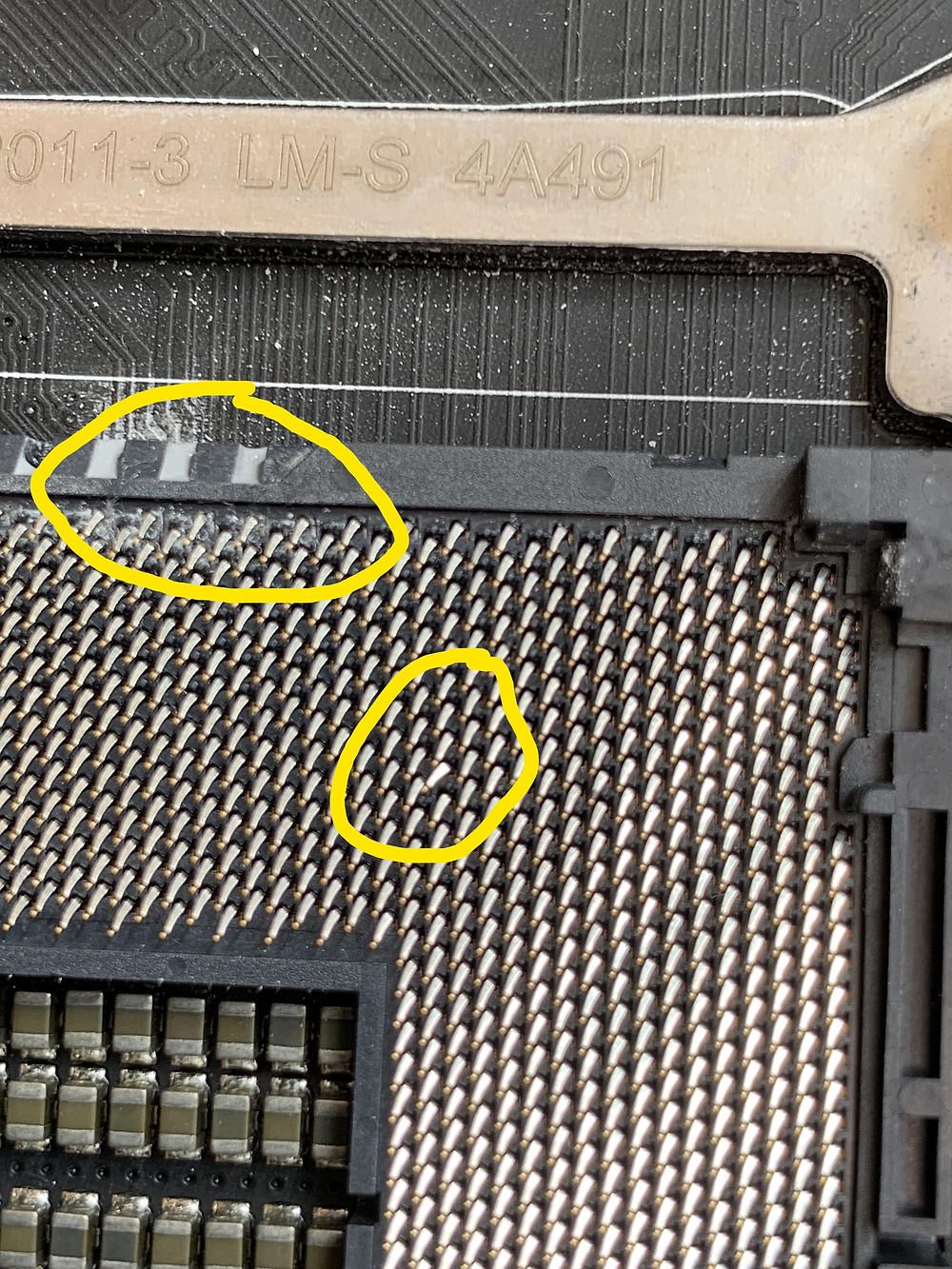 Damaged CPU Socket connectors